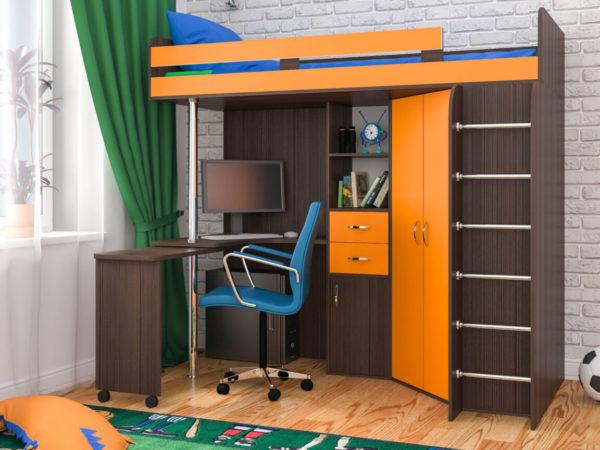 кровать со столом и шкафом для одежды