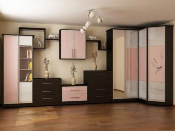 фото стенки в гостиную со шкафом для одежды