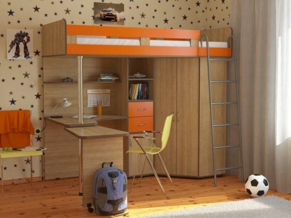 кровать-чердак с металлической лестницей