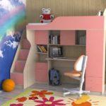 розовый чердак-кровать