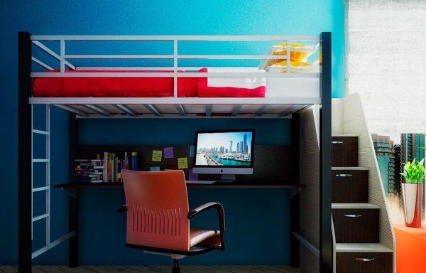 кровать чердак с компьютерным столом внизу