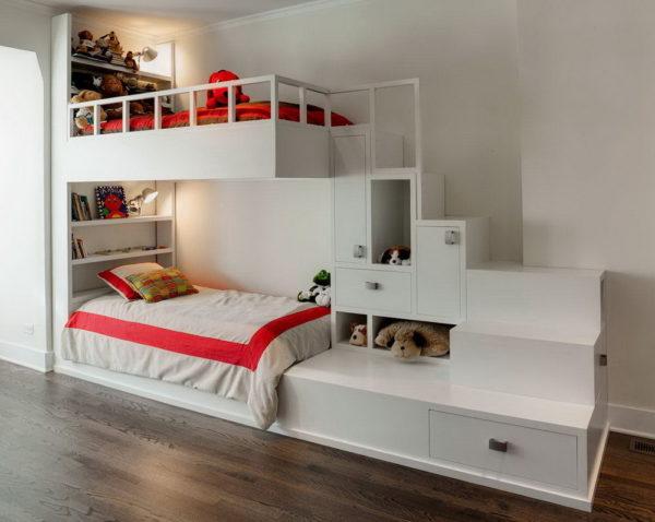 кровать-чердак подростка