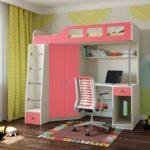 розовая кровать-чердак со шкафом