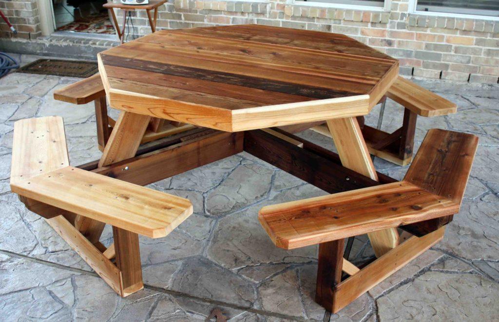 Как сделать скамейки и стол из дерева 319
