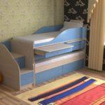 голубой диван-чердак с ящиками