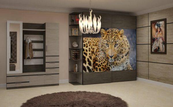 шкаф с фото обоями леопарда