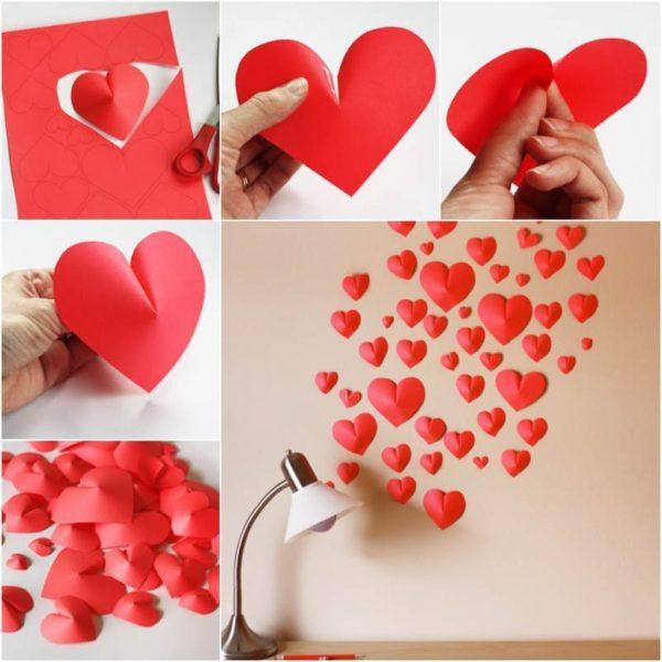 Как украсить комнату ко дню Всех Влюбленных — декор стен
