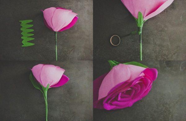 Роза из гофрированной бумаги интересный вид