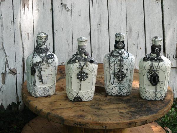 декор бутылка из камня