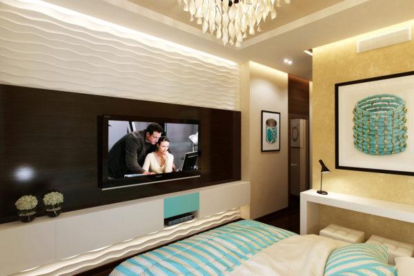 дизайн стены с телевизором в спальне