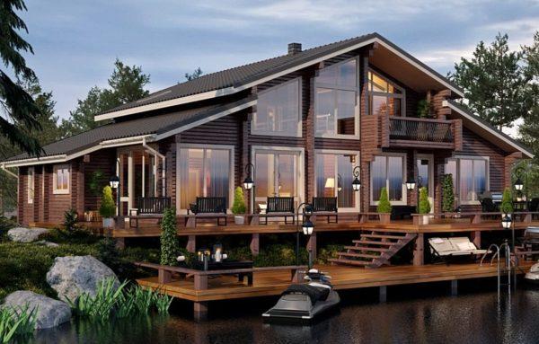 дом из бруса с личным пирсом