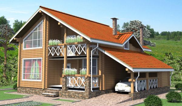 дом из бруса с открытой парковкой