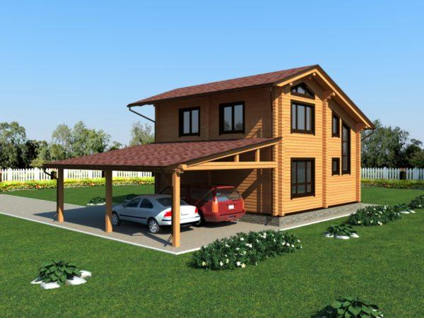 дом из бруса с парковкой