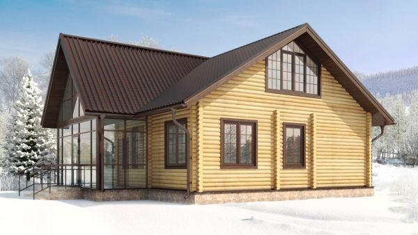 дом из бруса с стекляной верандой