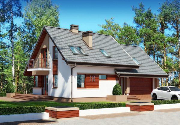 дом с мезонином и гаражом