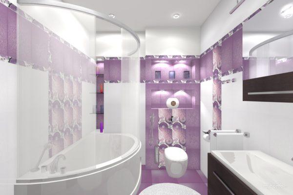 фиолетовая ванная комната в загородном доме