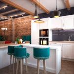 функциональные зоны на кухне в стиле лофт