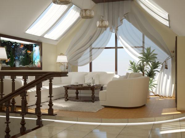 гостиная на мансарде