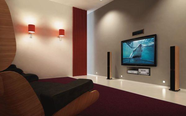 интерьер спальни с телевизором