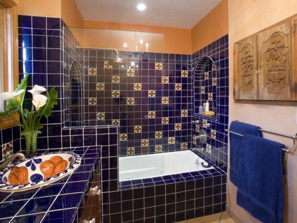 мексиканский стиль оформления ванной комнаты