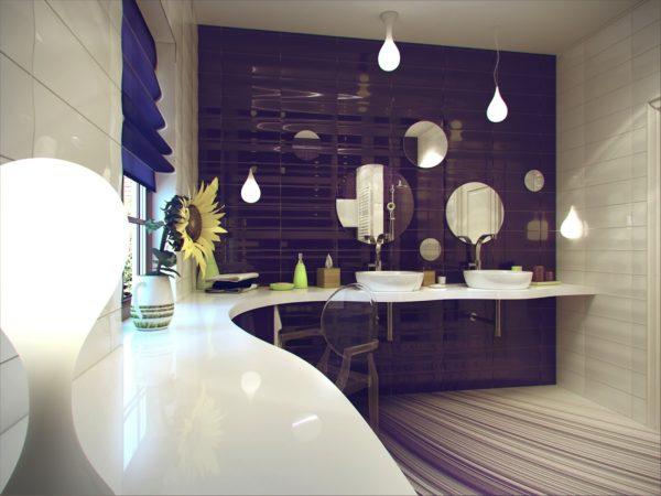 модерн в фиолетовой ванной комнате