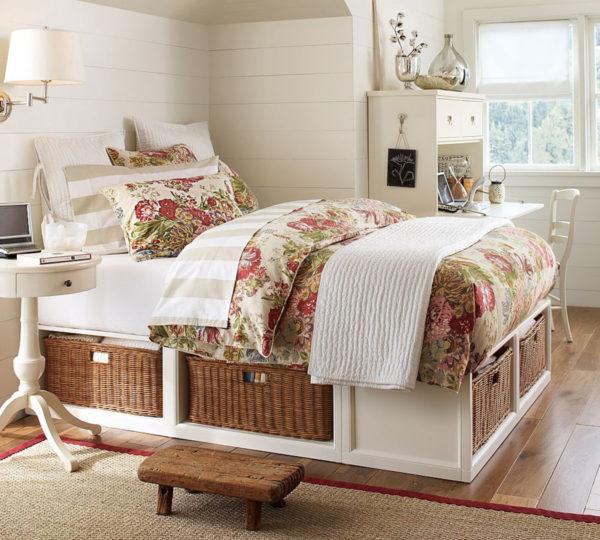 плетеные корзинки для белья в спальню