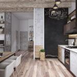 пол на кухне в стиле лофт