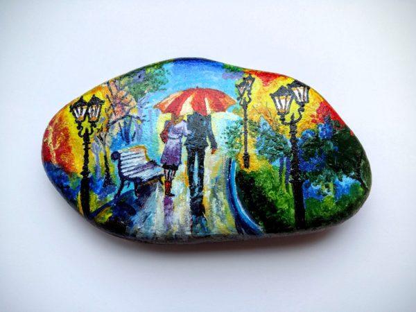 рисунок красками на камнях