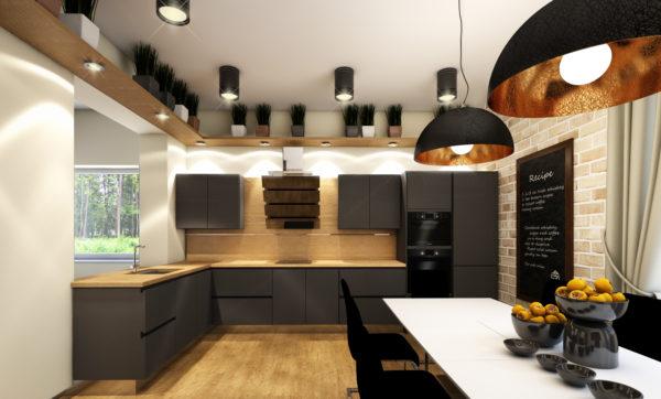 смоделированная кухня в стиле лофт