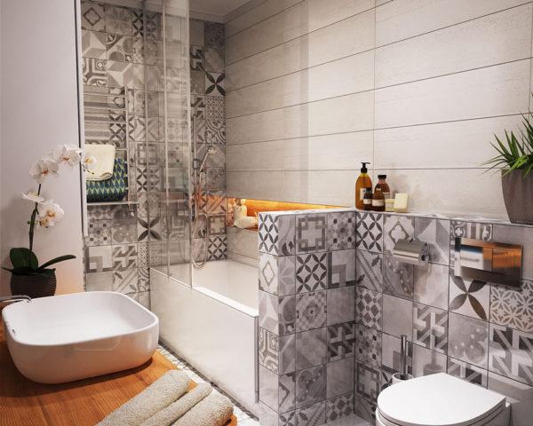 ванна с плиткой