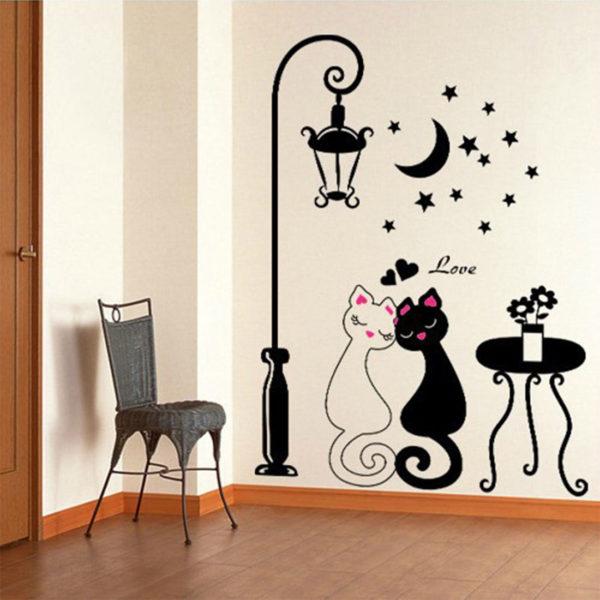 декоративные наклейки в углу комнаты