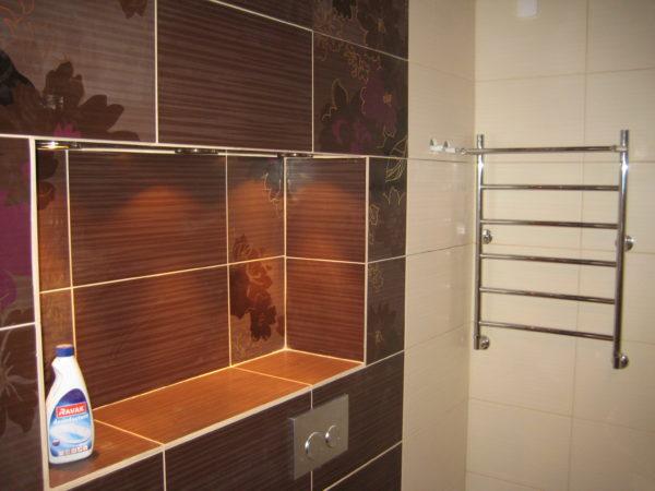 компактное оформление ванной комнаты