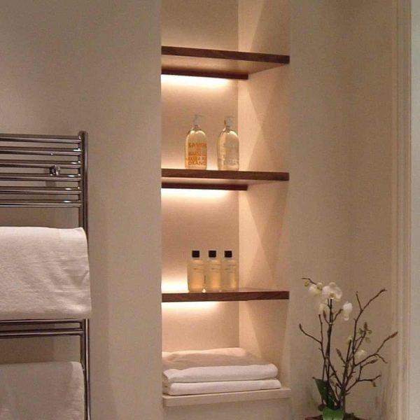 полочки для ванной с подсветкой