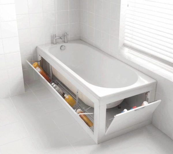 ванна с откидным экраном-полочкой