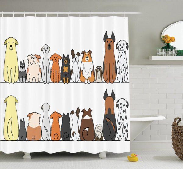 занавеска с животными для ванной комнаты