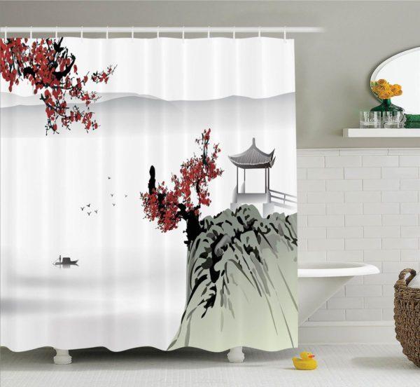 занавески для ванной комнаты в восточном стиле